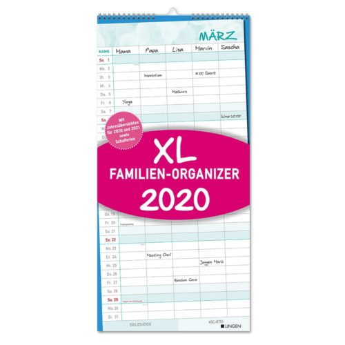 Streifenkalender 2020 -XL Familien Organizer