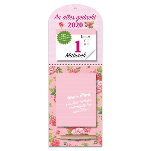 Tagesabreißkalender mit Memoboard 2020 - Rosen